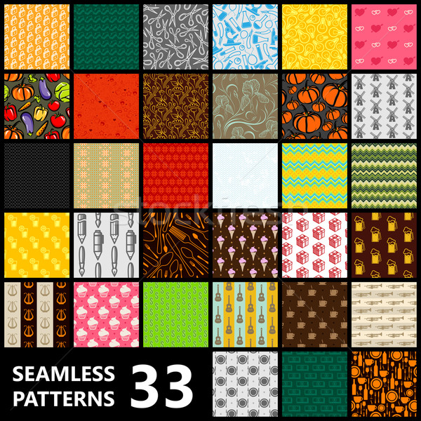 big set of 33 seamless vector patterns. Food and drinks, science, music, abstract, ethnic and other  Stock photo © maximmmmum