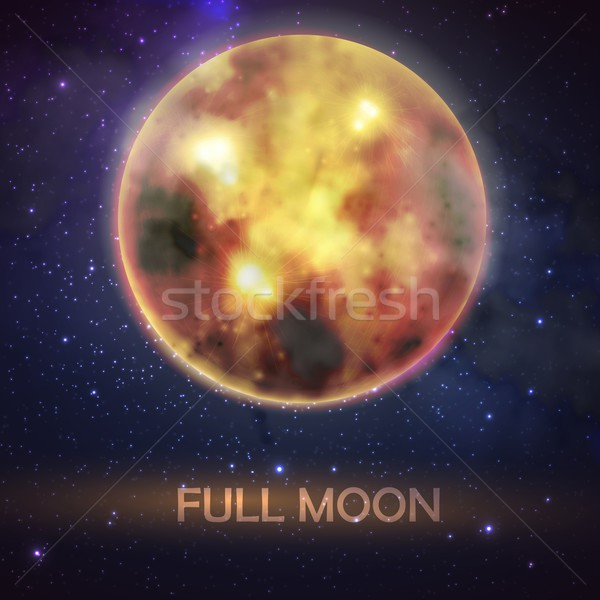 Mystical vector illustration of bloody full moon on the night sky background. halloween decoration d Stock photo © maximmmmum
