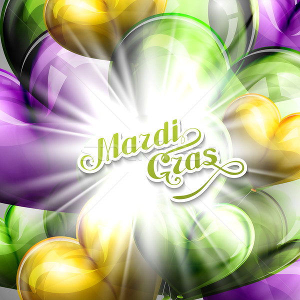 vector illustration of Mardi Gras or Shrove Tuesday lettering label on the flying balloon hearts bac Stock photo © maximmmmum