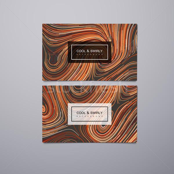 Tebrik davetiye tasarım şablonu kıvırcık Stok fotoğraf © maximmmmum