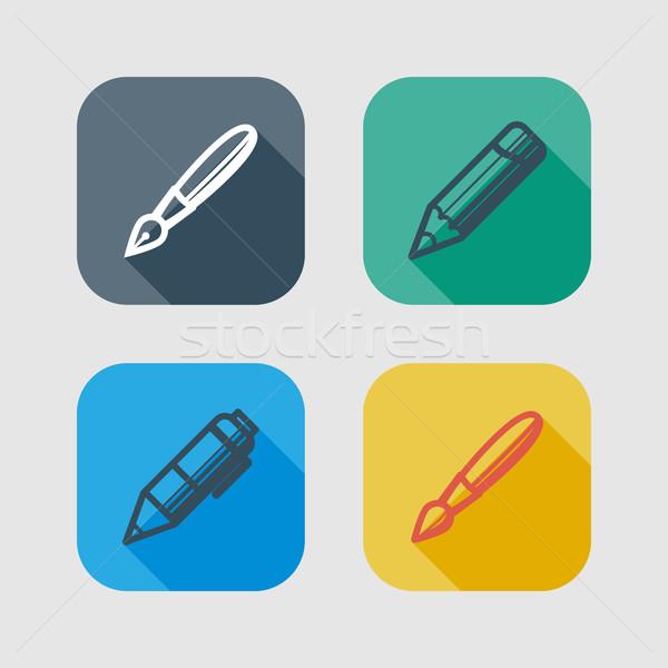 Stock fotó: Szett · rajz · ír · szerszámok · ikonok · hosszú