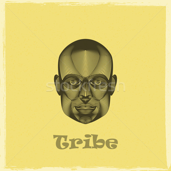 Stock photo: vector graphic evgraved illustration of a black african tribe man face