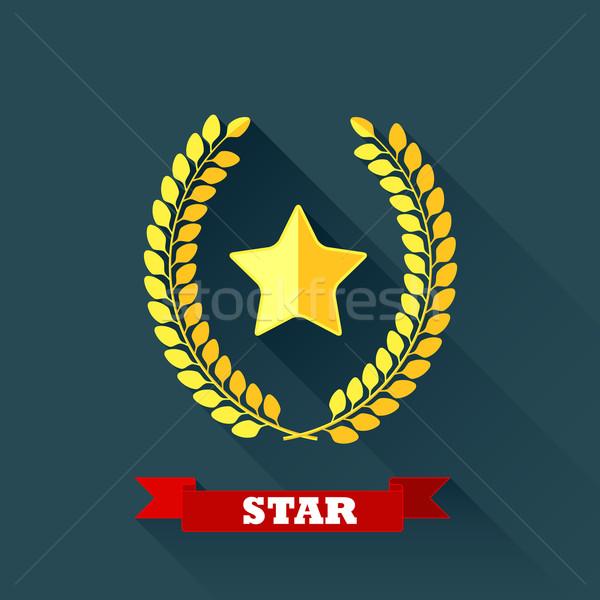 Defne çelenk star dizayn uzun gölge Stok fotoğraf © maximmmmum