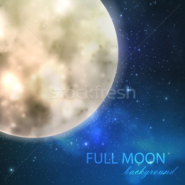Telihold éjszaka csillagos ég természet háttér kék Stock fotó © maximmmmum