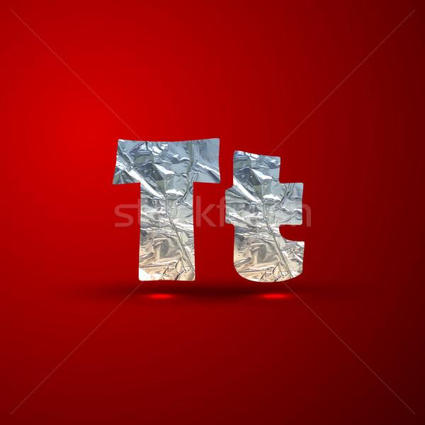 Vektor szett alumínium ezüst levelek t betű Stock fotó © maximmmmum