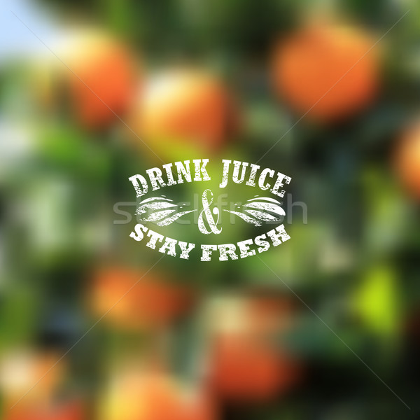 Stock photo: Quote typographical label on blurred background of orange grove, vector design.