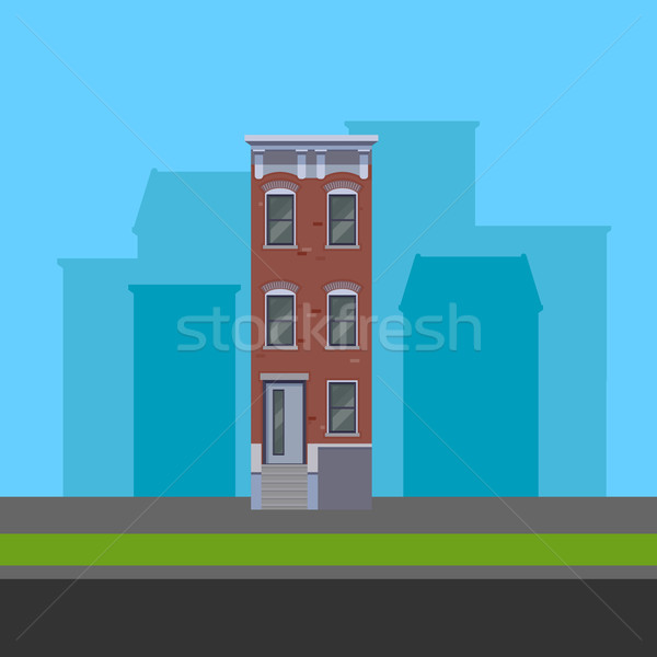 vector illustration of townhouse in flat polygonal style Stock photo © maximmmmum