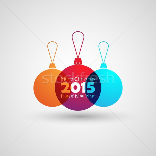 Abstract multicolored balls in flat style. holiday vector illustration. Merry Christmas and Happy ne Stock photo © maximmmmum