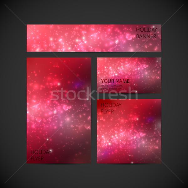 набор вектора корпоративного личности красный праздник Сток-фото © maximmmmum