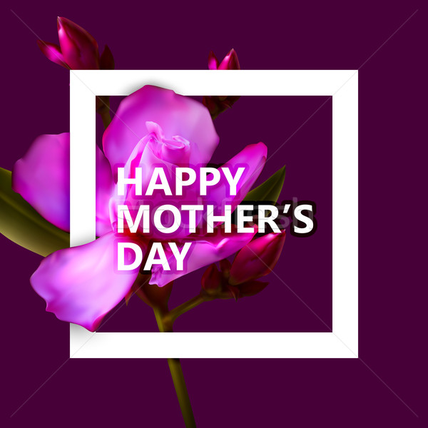 Happy Mothers Day label with flowers Stock photo © maximmmmum