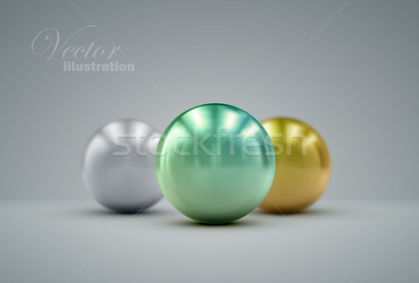 Stock photo: 3D metallic spheres