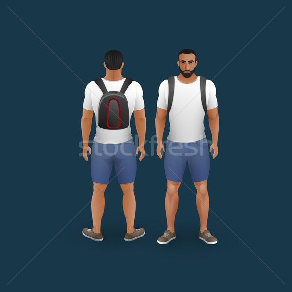 Mannen shorts tshirt vector mode Stockfoto © maximmmmum