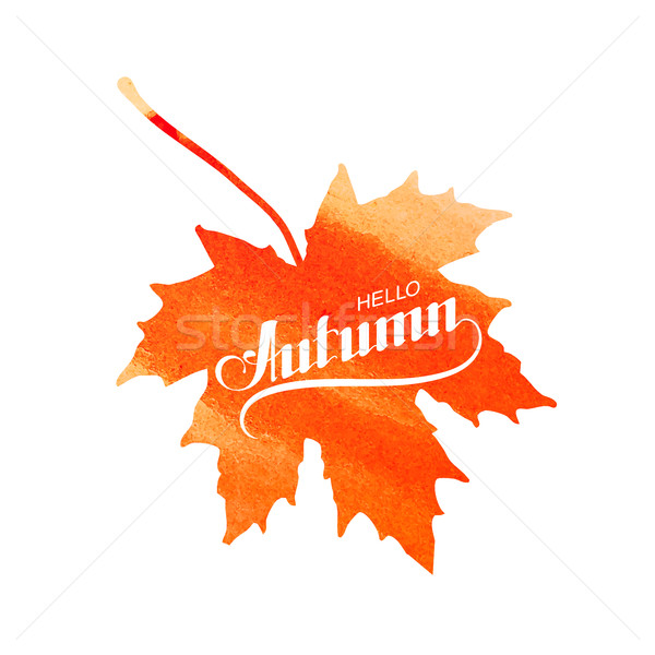 Hello Autumn label on watercolor maple leaf Stock photo © maximmmmum