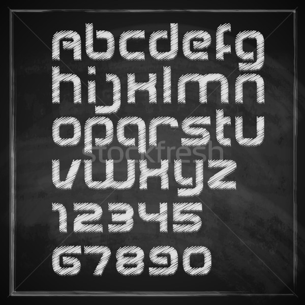 vector set of chalk sketched characters on blackboard background. artistic font  Stock photo © maximmmmum