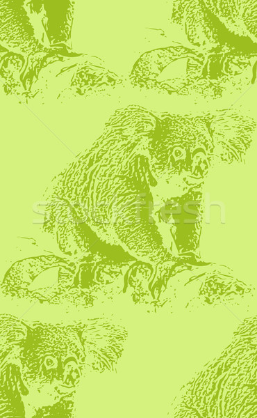 Stock photo: vector vintage illustration of a koala bear. seamless animal pattern