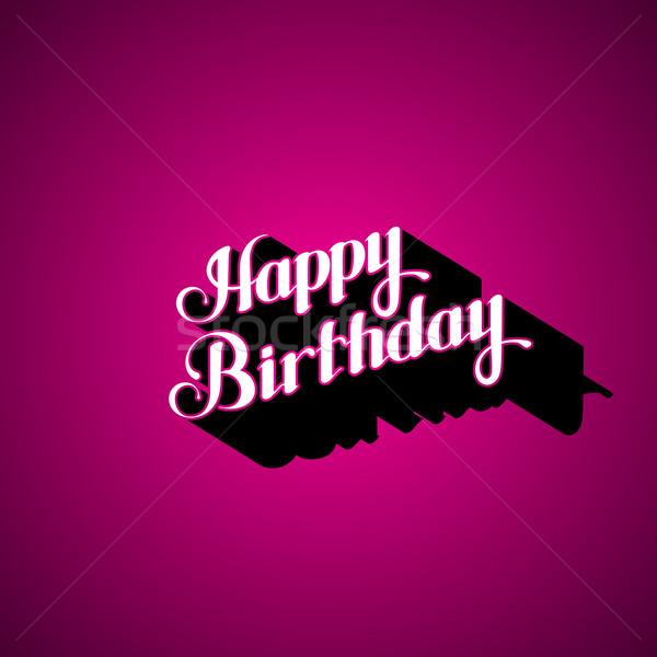 Stock Photo Vector Illustration Typographic Of Handwritten Happy Birthday Retro Label Lettering Composition