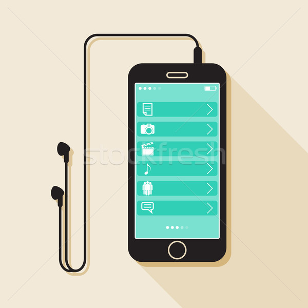 Illustration with a mobile phone. device in flat style with a media gallery interface, headphones an Stock photo © maximmmmum