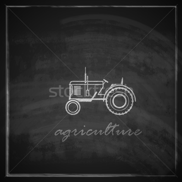 vector illustration with tractor icon on blackboard background. farm concept  Stock photo © maximmmmum