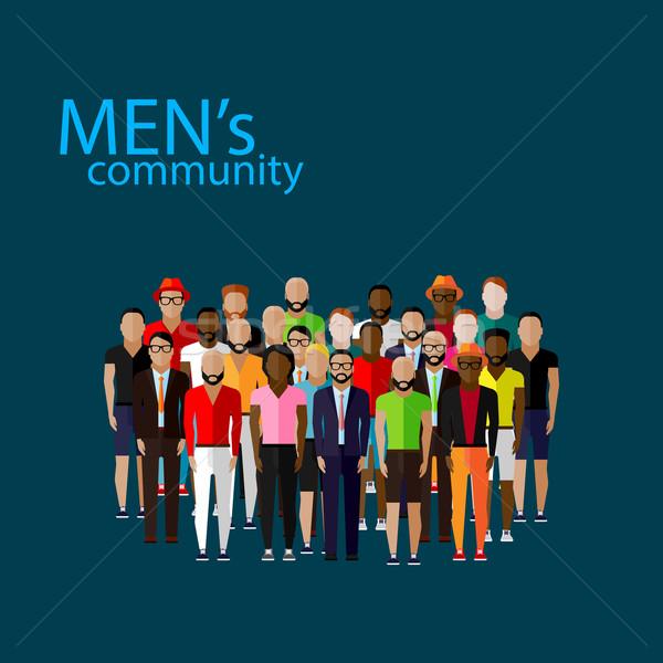 Vetor ilustração masculino comunidade caras Foto stock © maximmmmum