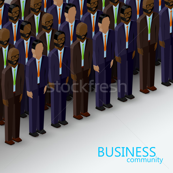 vector 3d isometric  illustration of business or politics community. a large group of men (business  Stock photo © maximmmmum