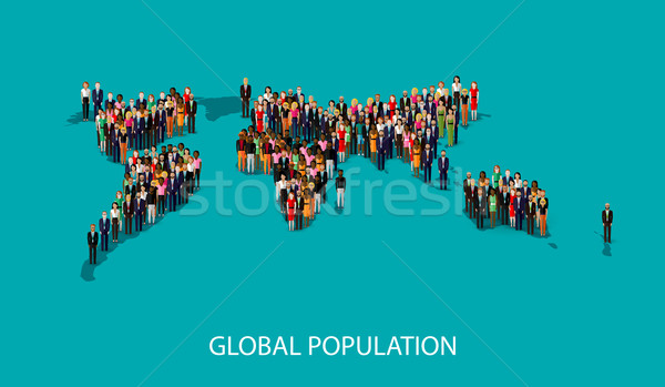 vector flat illustration of people standing on the world global map shape. infographic global popula Stock photo © maximmmmum