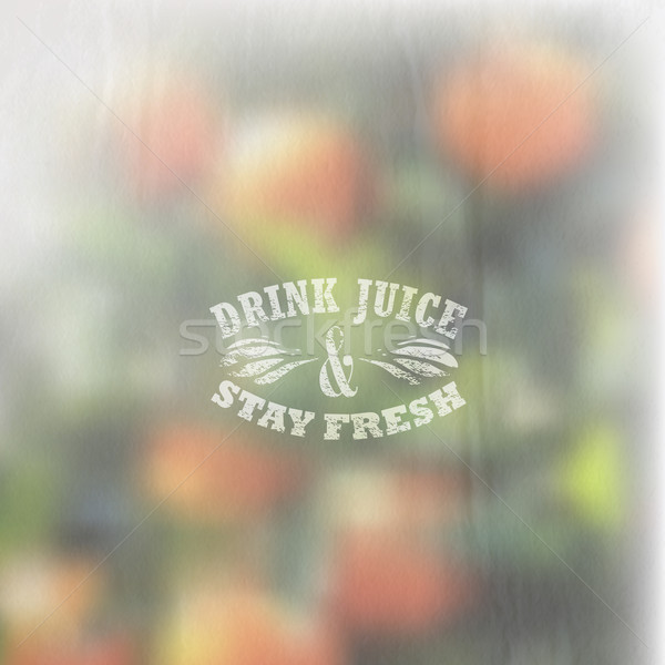 Quote typographical label on blurred background of orange grove with faded watercolor effect, vector Stock photo © maximmmmum