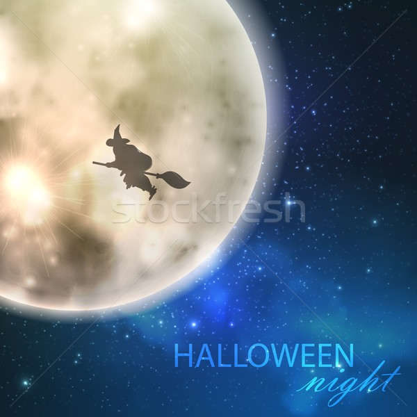 Halloween vector illustration with full moon and witch on the night sky background Stock photo © maximmmmum