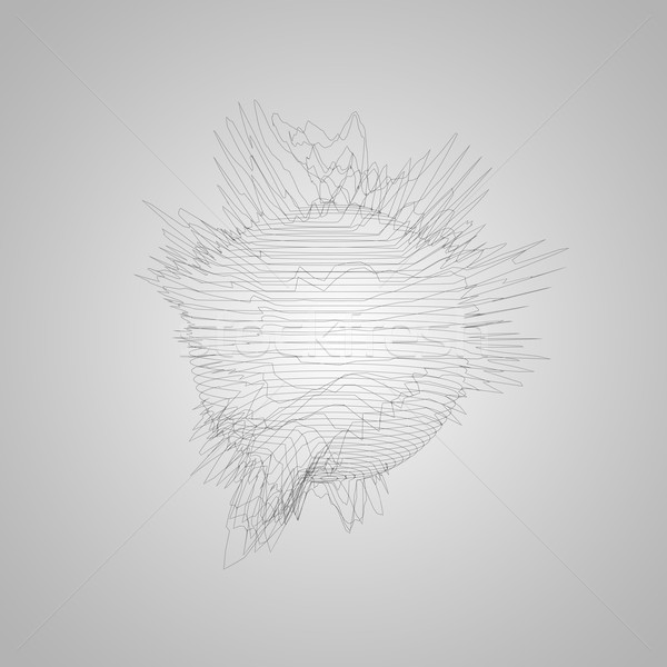 3D distorted wireframe sphere Stock photo © maximmmmum