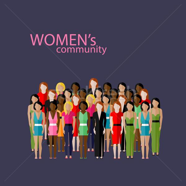 вектора иллюстрация женщины сообщество девочек Сток-фото © maximmmmum