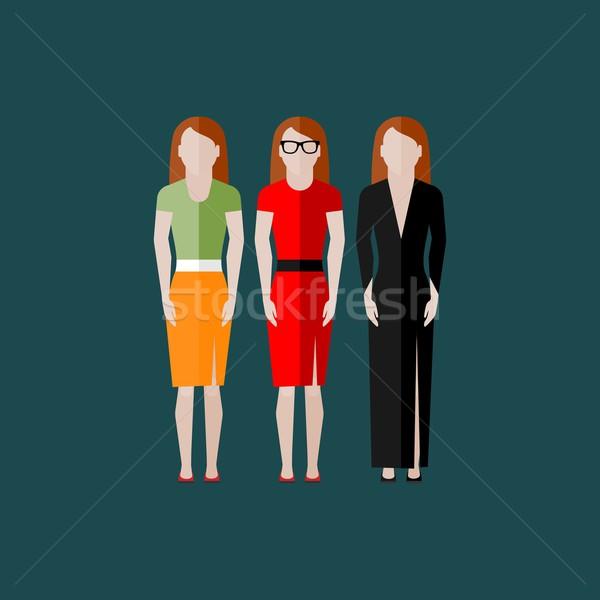 Mujeres apariencia iconos personas colección nina Foto stock © maximmmmum