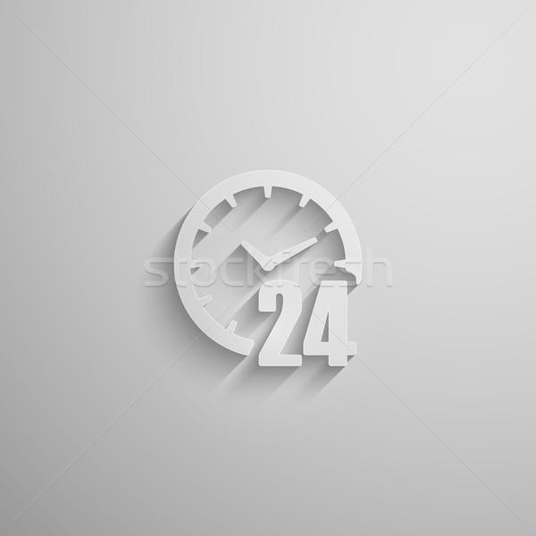 Nyitva 24 nap 3D papír ikon Stock fotó © maximmmmum