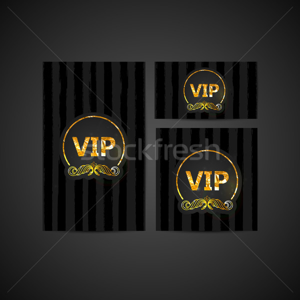 vector set of VIP cards with golden foil ornate emblem, striped  Stock photo © maximmmmum