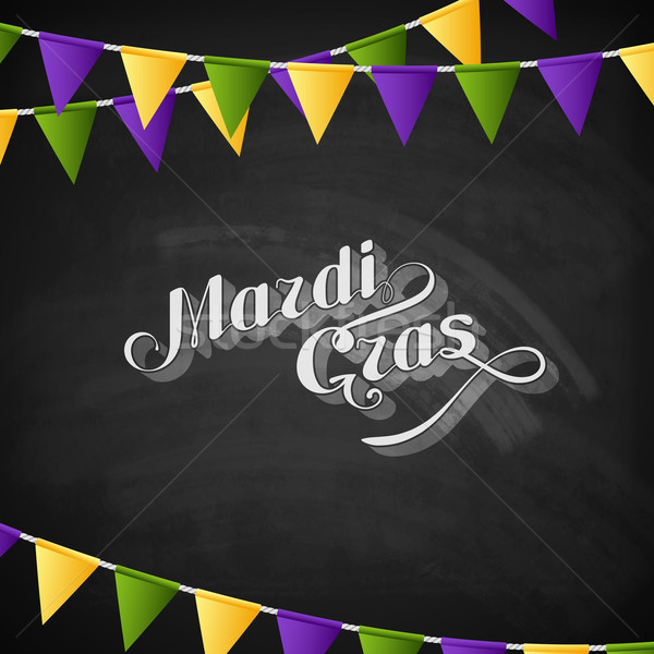 vector typographical illustration of ornate chalk word Mardi Gras on the blackboard texture with mul Stock photo © maximmmmum
