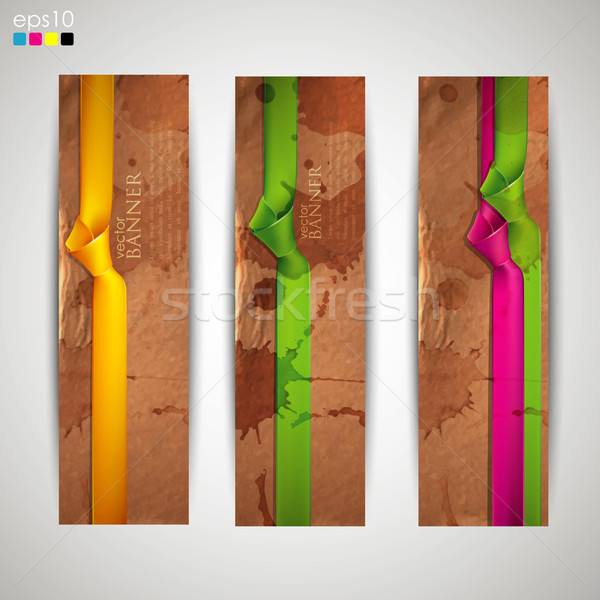 set of banners with grunge cardboard texture and multicolored ribbons  Stock photo © maximmmmum