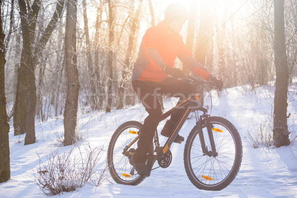 Stock photo: Mountain Biker Riding Bike on the Snowy Trail in the Beautiful Winter Forest Lit by Sun