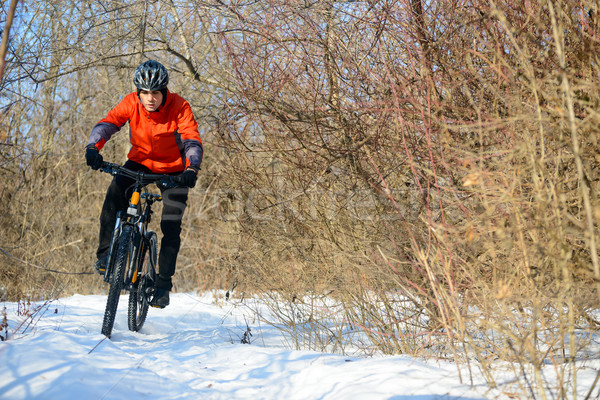 Stock photo: Mountain Biker Riding Bike on the Snowy Trail in Beautiful Winter Forest