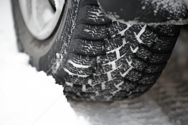 Close-up Image of Winter Car Tire on Snowy Road. Drive Safe Concept Stock photo © maxpro