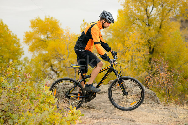 Stock photo: Cyclist Riding Bike on the Beautiful Autumn Mountain Trail