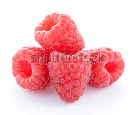Stock photo: Heap of Red Ripe Juicy Raspberries Isolated on White Background