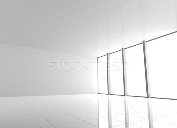 Stock fotó: üres · modern · fehér · belső · ablakok · nagy