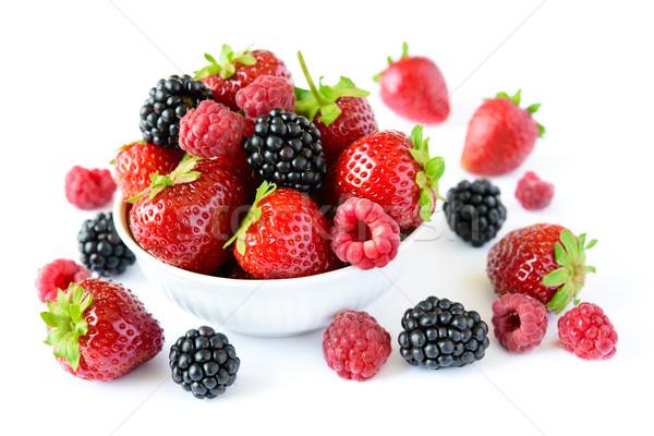 Stock photo: Big Pile of Fresh Berries on White Background