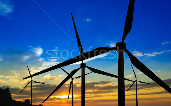 Wind Generator Turbines on Sunset Stock photo © maxpro