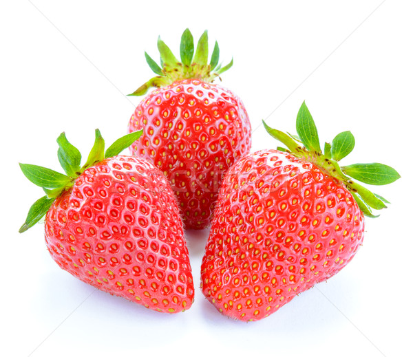 Three Sweet Juicy Strawberries Isolated on White Background. Summer Healthy Food Concept Stock photo © maxpro