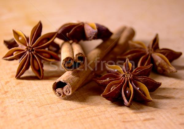 Star anason tarçın ahşap masa gıda doğa Stok fotoğraf © maxpro