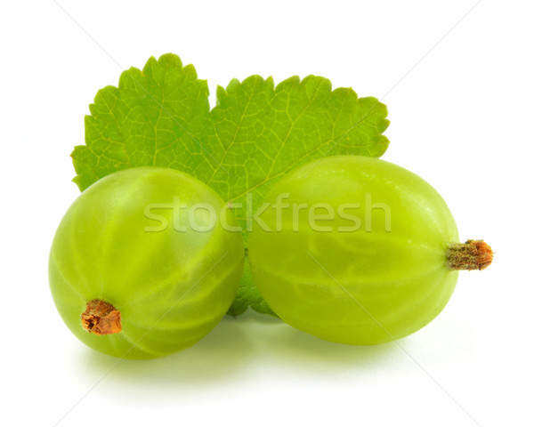 Ripe Gooseberries and Leaf Isolated on White Background Stock photo © maxpro