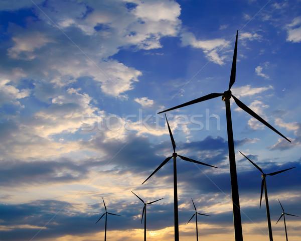 風 ジェネレータ 日没 緑 再生可能エネルギー 風景 ストックフォト © maxpro