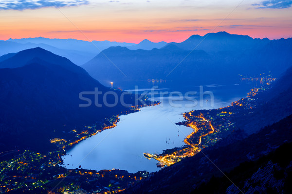 Bay of Kotor at Night. Panorama of Boka-Kotorska bay. Aerial View of Kotor Town, Montenegro. Stock photo © maxpro