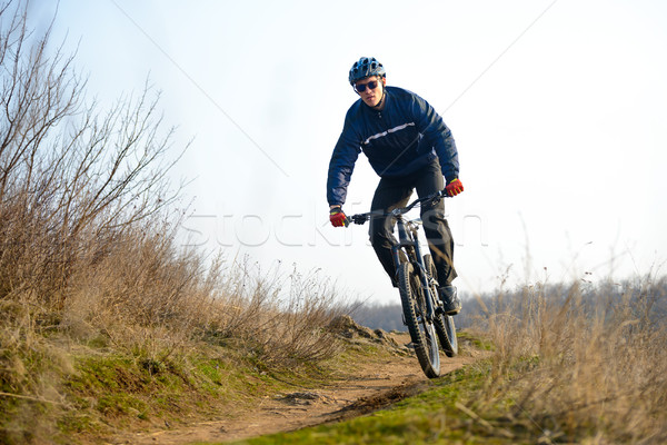 велосипедист верховая езда горных велосипедов вниз красивой тропе Сток-фото © maxpro
