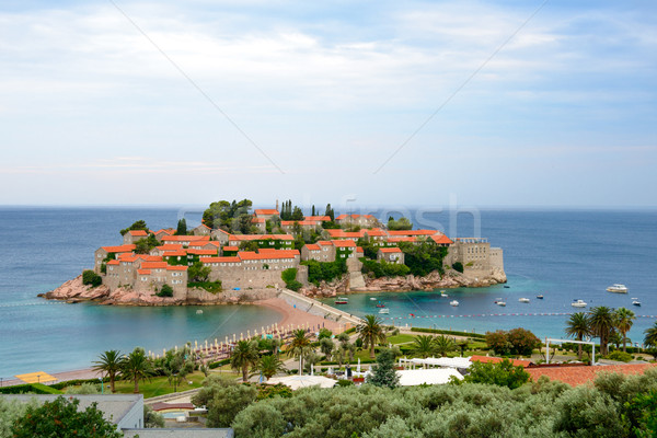 Stock photo: Beautiful Island and Luxury Resort Sveti Stefan, Montenegro. Balkans, Adriatic sea, Europe.
