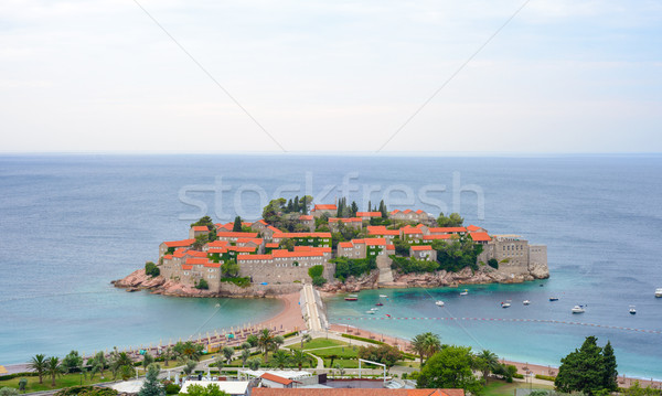 Beautiful Island and Luxury Resort Sveti Stefan, Montenegro. Balkans, Adriatic sea, Europe. Stock photo © maxpro